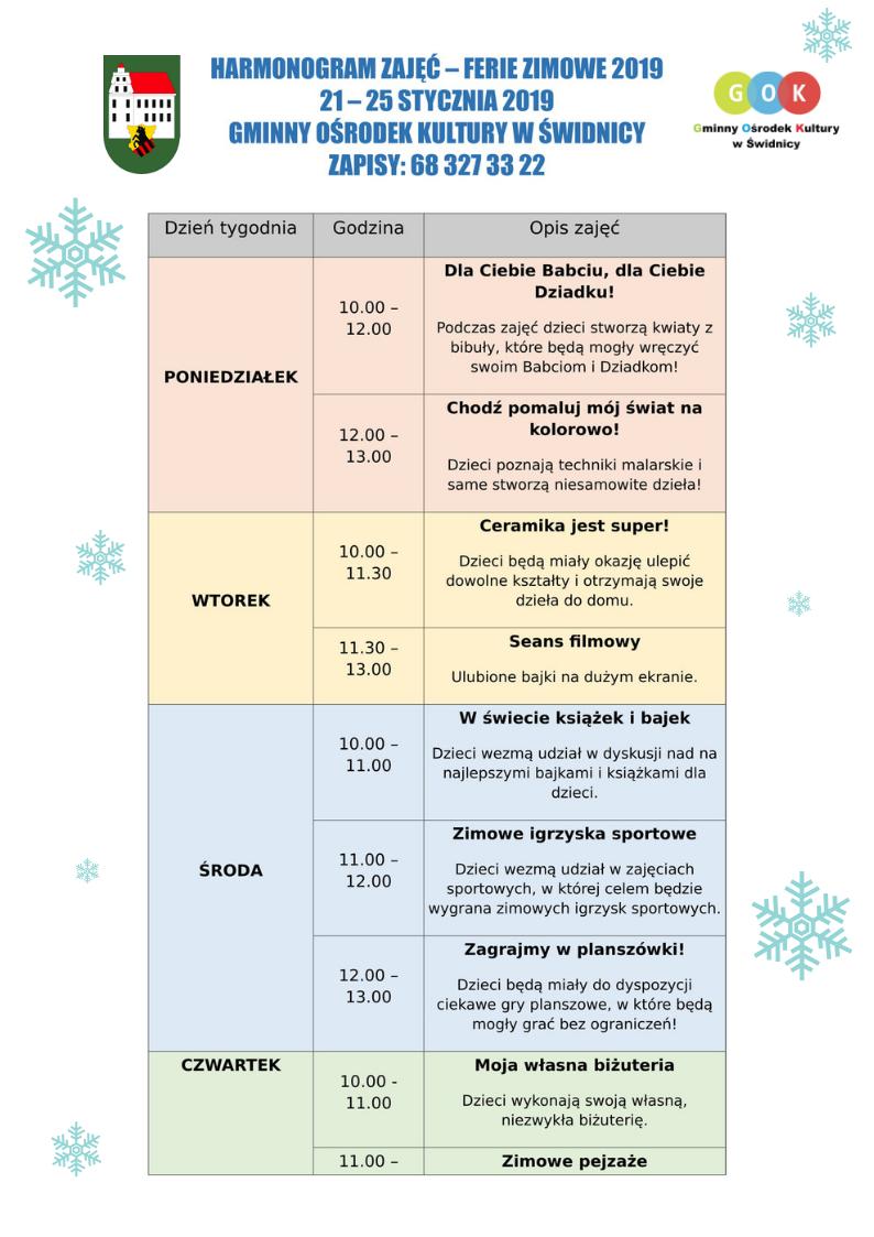Ilustracja do informacji: Harmonogram zajęć na ferie zimowe w GOKu