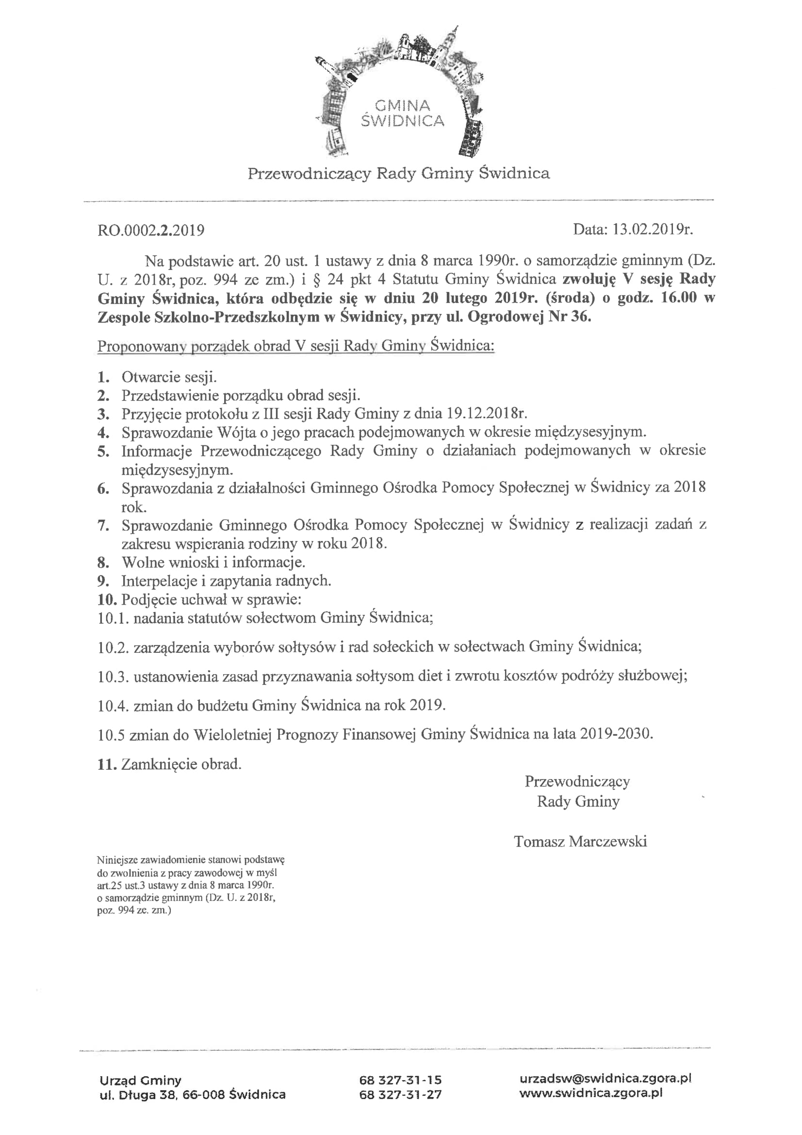 Ilustracja do informacji: Zaproszenie na V sesję Rady Gminy Świdnica