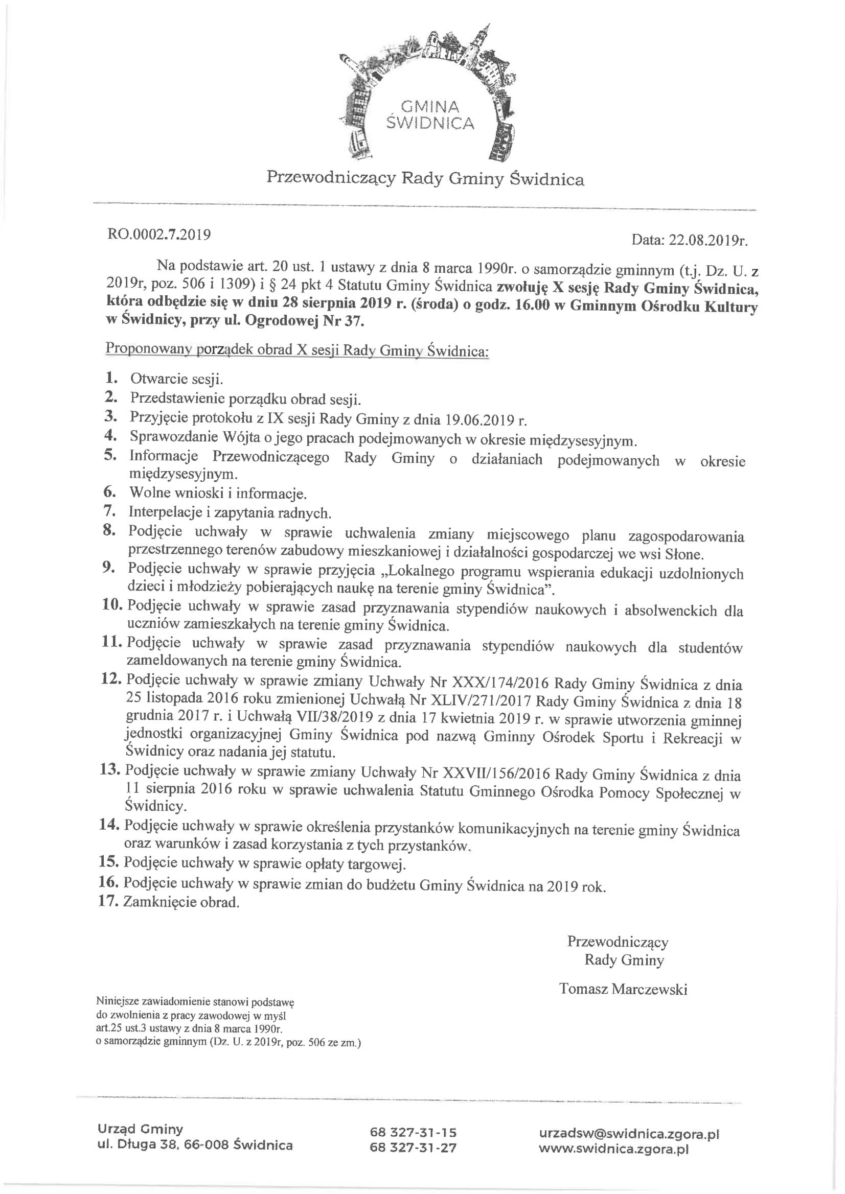 Ilustracja do informacji: Zaproszenie na X sesję Rady Gminy Świdnica