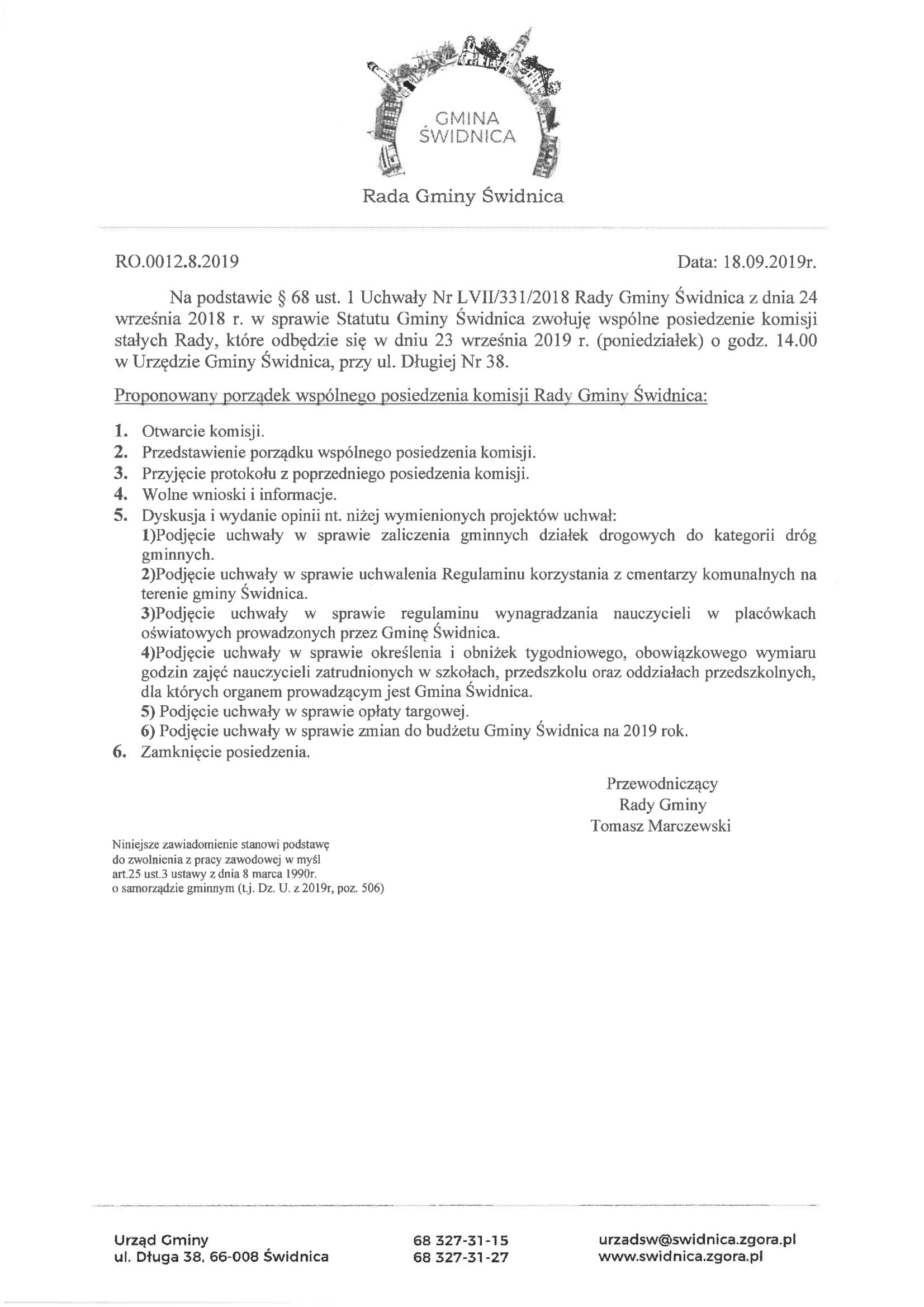 Ilustracja do informacji: Rada Gminy Świdnica