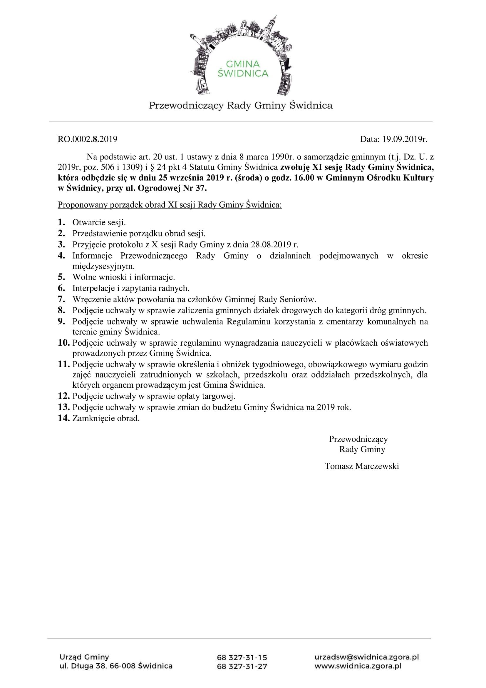 Ilustracja do informacji: Zaproszenie na XI sesję Rady Gminy