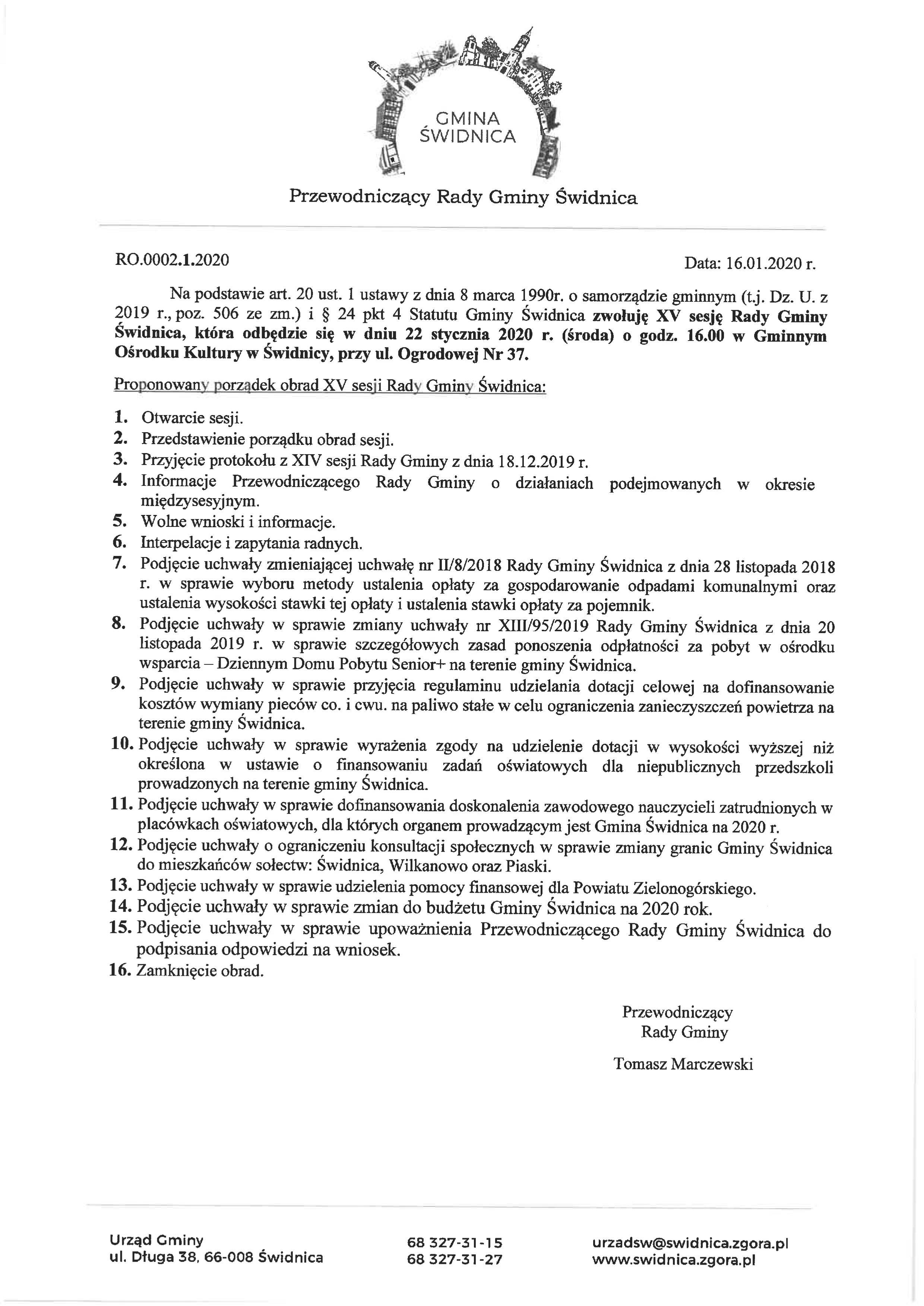 Ilustracja do informacji: XV sesja Rady Gminy Świdnica