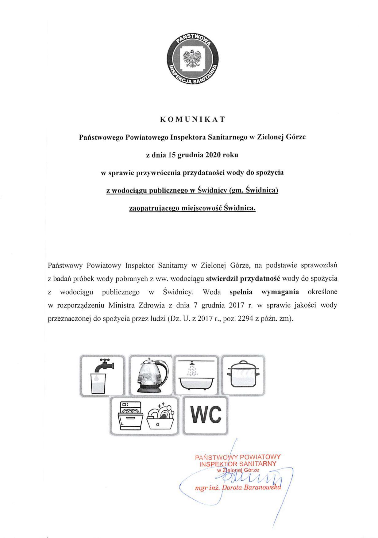 Ilustracja do informacji: Komunikat w sprawie przydatności wody do spożycia