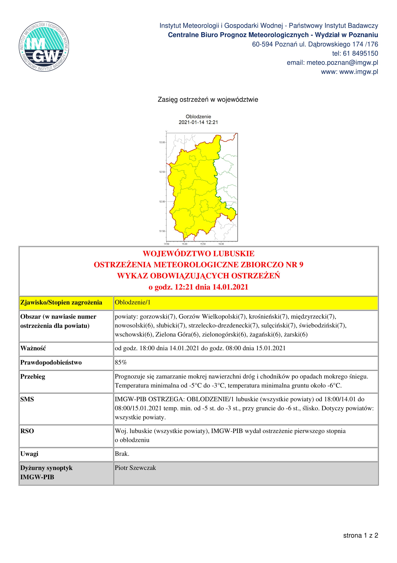 Ilustracja do informacji: Ostrzeżenie mteorologiczne