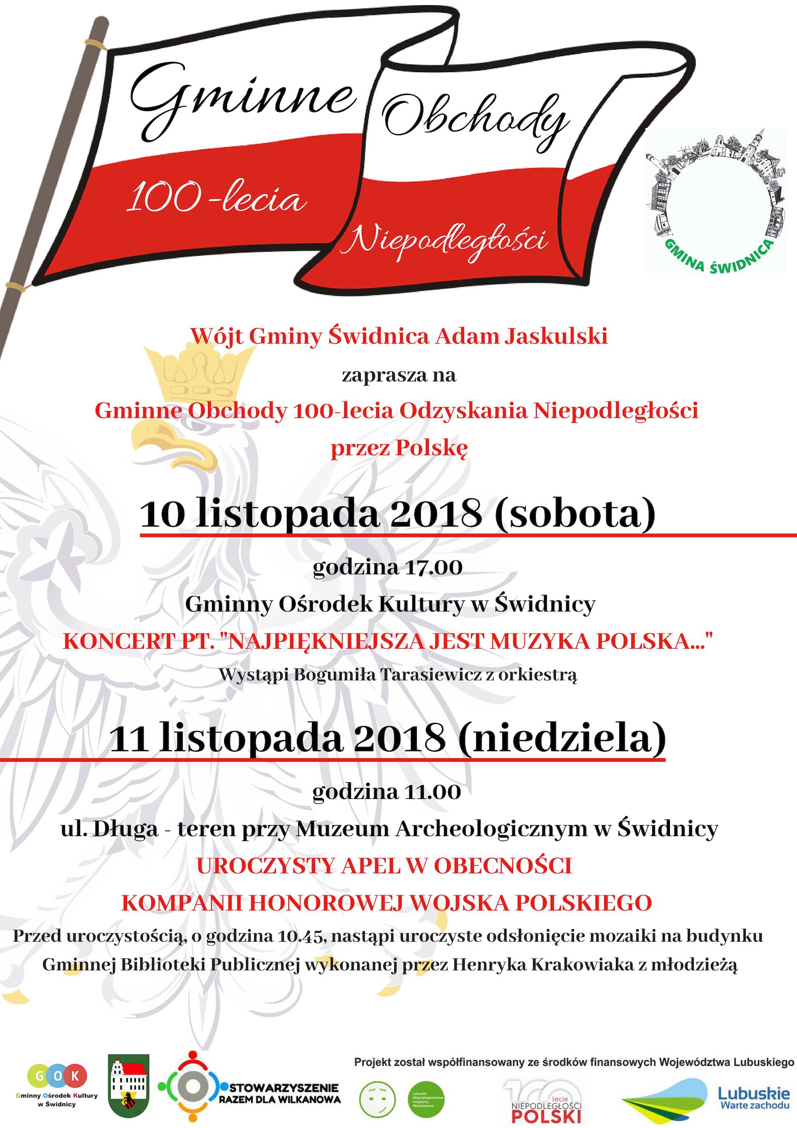 Ilustracja do informacji: Gminne Obchody 100-lecia Odzyskania Niepodległości przez Polskę