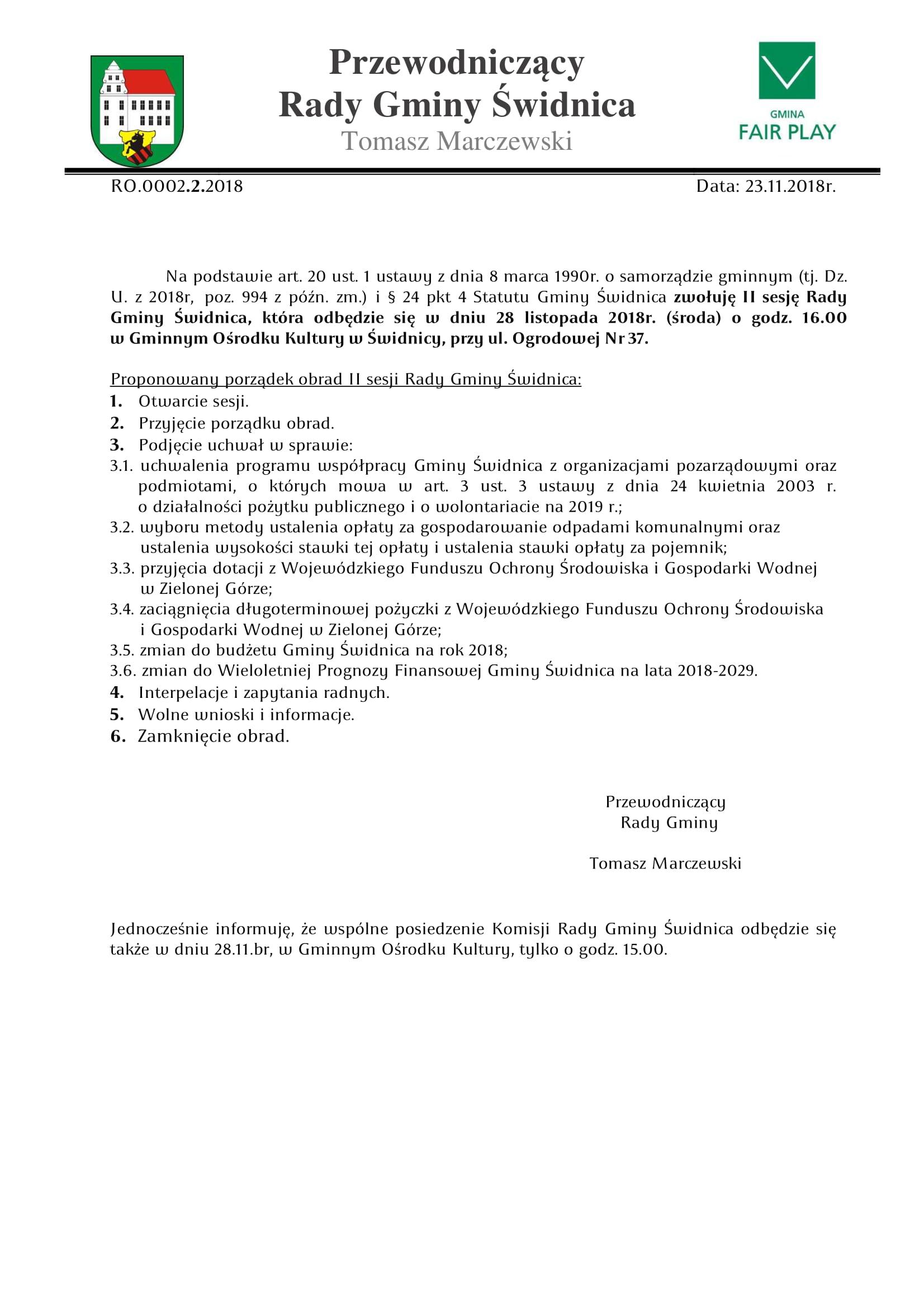 Ilustracja do informacji: Zaproszenie na II sesję Rady Gminy Świdnica